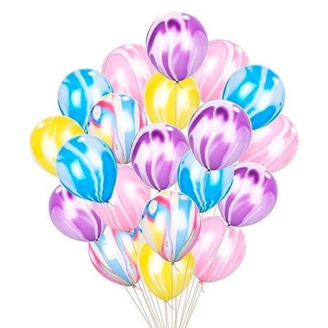 EZESO 12IN Color Brillante Confeti Globos de Fiesta de látex Globos Transparentes para el Aniversario de