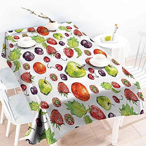 Homrkey Waterproof Tablecloth Kitchen Decor Strawberries Pear Cherries Leaves Plums Apples Peach Pattern Image Artwork Multicolor Washable Tablecloth W50 xL80