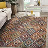 Cheap Safavieh Monaco Collection MNC204F  4′ x 5'7″ Synthetic Modern Geometric Diamond Polka Dot Multi and Beige Area Rug