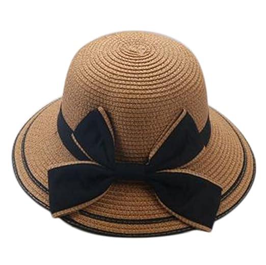 9ec393f5267cc Amazon.com  Freedi Sun Straw Hat Toddler Baby Girls Large Wide Brim Travel  Beach Beanie Cowboy Cap Bow Cute  Clothing