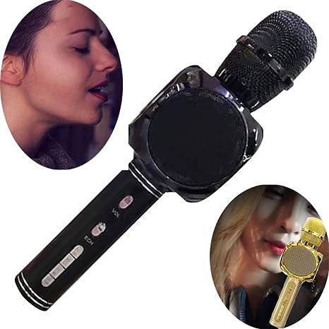 WYGC MIC Micrófono Inalámbrico Karaoke Bluetooth USB Altavoz Teléfono Móvil Karaoke Herramienta KTV Portátil con Altavoz para la Fiesta En Casa Altavoz de Cumpleaños (Color : Negro): Amazon.es: Deportes y aire libre