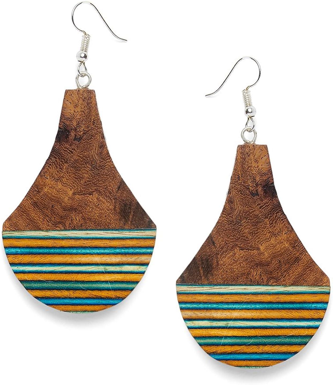 ZeroKaata Fashion Jewellery Pear Shaped Dark Brown Multi Stripped Wooden Handmade Jewellery Earrings For Girls and Women