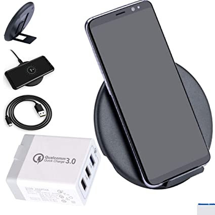 Wireless QI Fast Charger + Triple QC3.0 USB Wall Adapter - LarKoo Wireless Quick Charging Pad w/Detachable Magnet Foldable Phone Stand Holder 10W ...