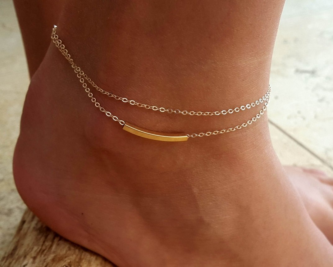 Handmade Gold Filled Anklet For Women Set With Gold Filled Tube Pendant By Galis Jewelry - Gold Ankle Bracelet For Women - Layered Anklet