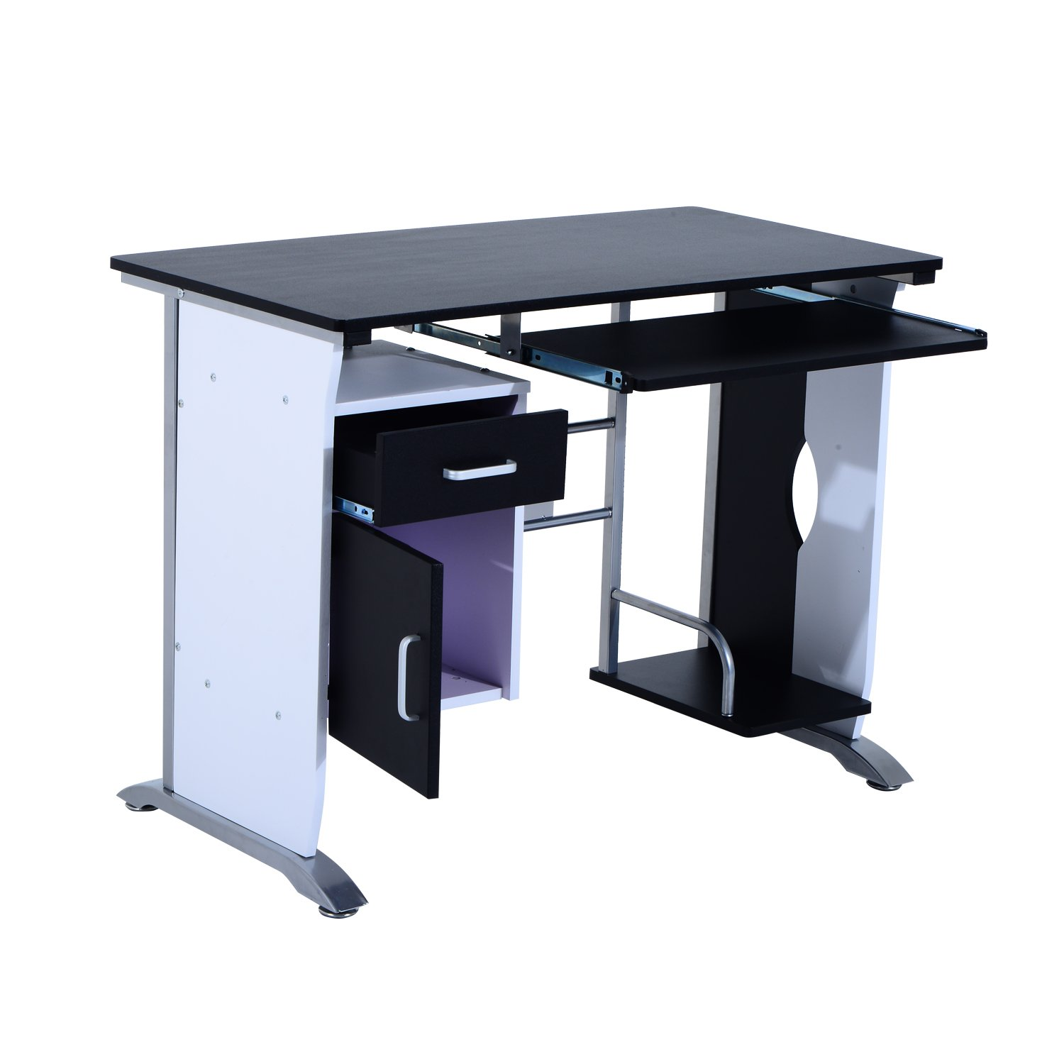 drawer trays workstation white metal office desk table and with wood products computer homcom writing modern
