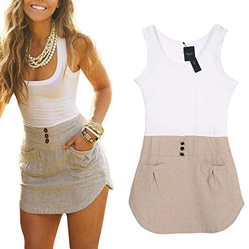 Mansy Women's Ladies Chiffon Long Top Blouse Summer Womens Sleeveless Mini Short Dress