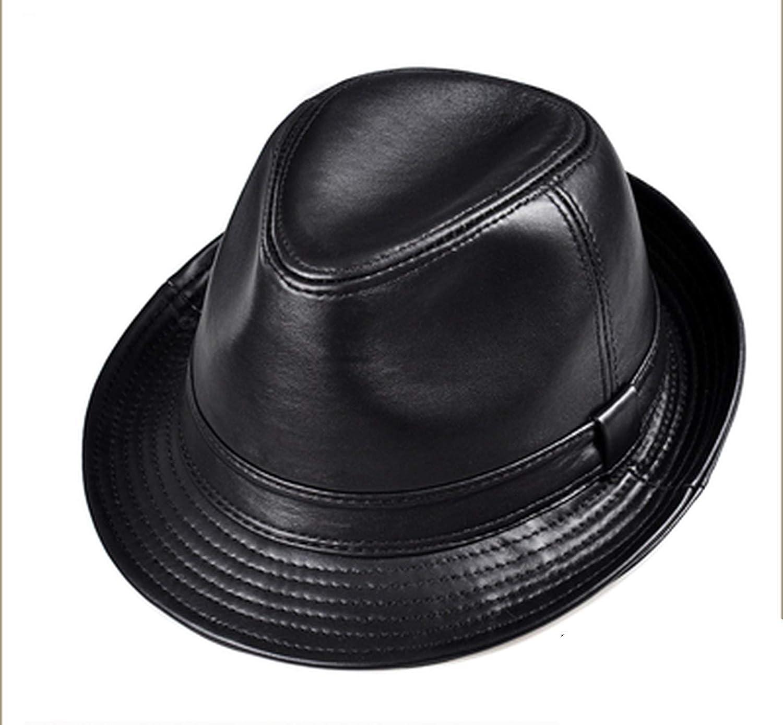 Genuine Leather Wide Brim Stetson Fedoras British Hats for Men//Women Black 55-61cm Fitted Jazz Hip-Pop