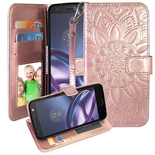 Moto Z2 Force Case, Harryshell PU Leather Kickstand Flip Wallet Protective Case Cover with Card Slot Wrist Strap Photo Frame for Motorola Moto Z2 Force (Rose Gold)
