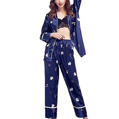 Pijamas De Pijamas De Noche Con Estampado De Hojas De Arce De Mujer Sexy Manga Larga