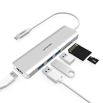 Amazon.com: LETSCOM - Hub USB-C, adaptador 6 en 1 tipo C con ...