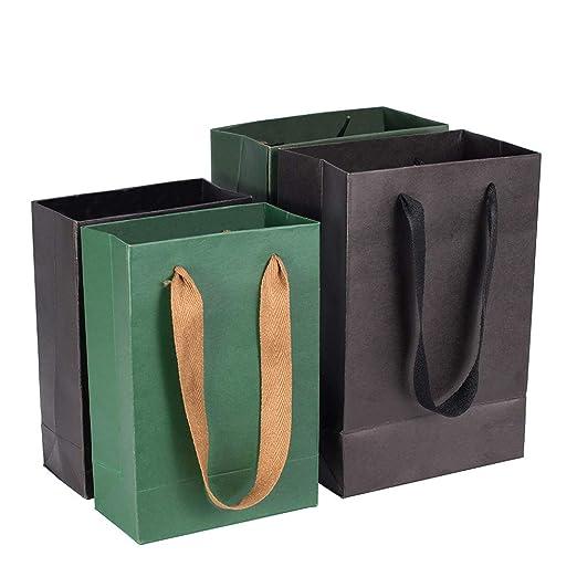 PandaHall Bolsas de Compra de Bolsas de Papel Kraft de Regalo de rectángulo con Hilo de Nylon, Burlywood, 22x18x10cm, 2 Colors