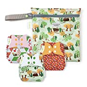 bumGenius Freetime All-In-One One-Size Snap Closure Cloth Diaper - Little House in the Big Woods Collection - Keepsake Set: 3 Cloth Diapers and 1 Wet Bag