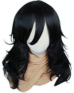 Cfalaicos 18 Black Wave Cosplay Wig with Free ...