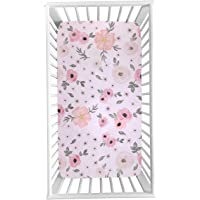 Puseky Baby Infant Floral Printed Soft Crib Sheet for Standard Crib and Toddler Mattresses