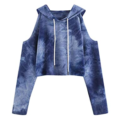 1644a1e3431bd FDelinK Women Teen Girls Cold Shoulder Tie Dye Hooded Pullover Long Sleeve Crop  Top Sweatshirt Hoodie
