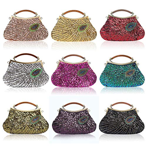 Clutch Hot Lady Bridal Bag for Pink Wanfor Wedding Handbag Sequins Women Vintage Peacock Party Beaded Purse Evening Cocktail 045agxqv