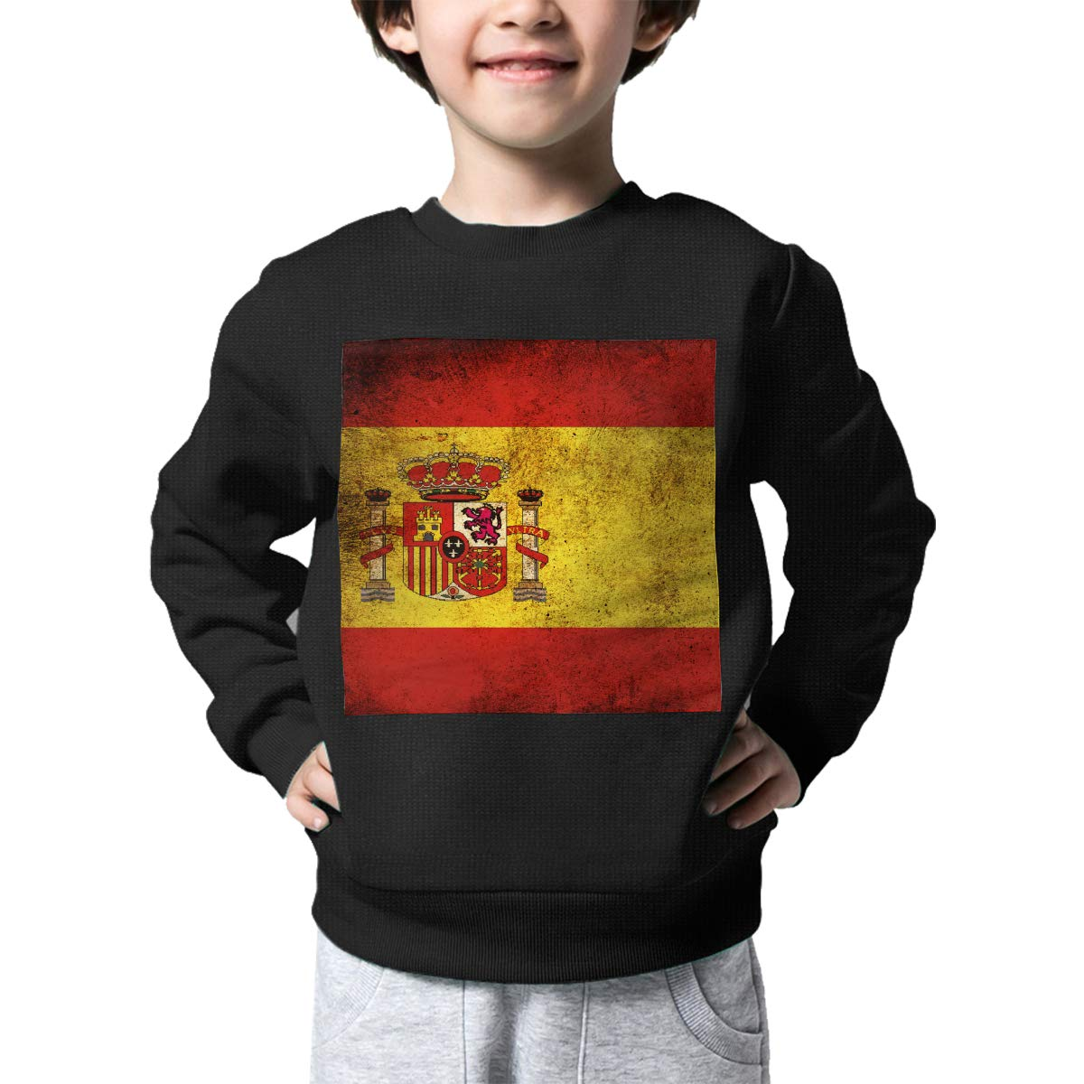 Boys Girls Vintage Spain Flag Lovely Sweaters Soft Warm Unisex Children Kids Sweater
