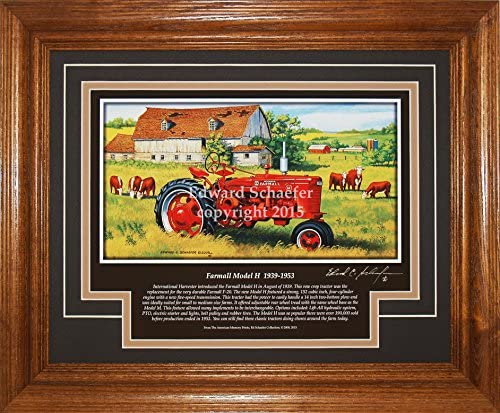 American Memory Prints Art by Ed Schaefer Farmall Model H 1939-1953 with The History of The Tractor Gift for Dad Farmall Pictures Wall Decor Art