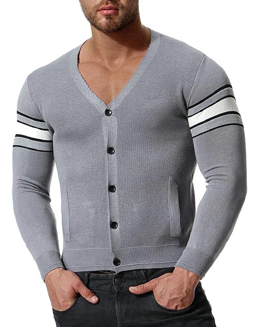 Jmwss QD Mens Slim Fit Basic Knitted Long Sleeve V-Neck Thin Sweaters Cardigan