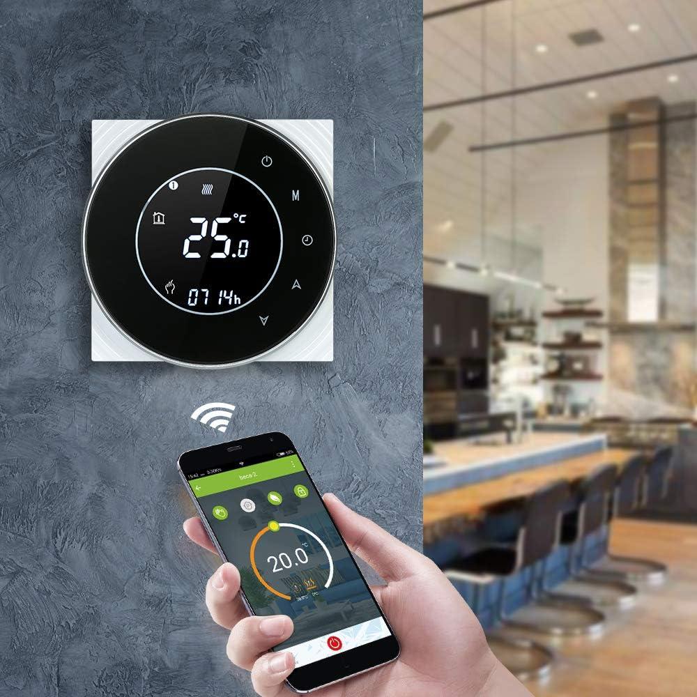 Decdeal Thermostat Wifi Runde LCD Touchscreen Wandthermostat 5A Programmierbare Hintergrundbeleuchtung 0.5 /° C Genauigkeit Sprachsteuerung App Fernbedienung f/ür Fu/ßbodenheizung Wasserheizung