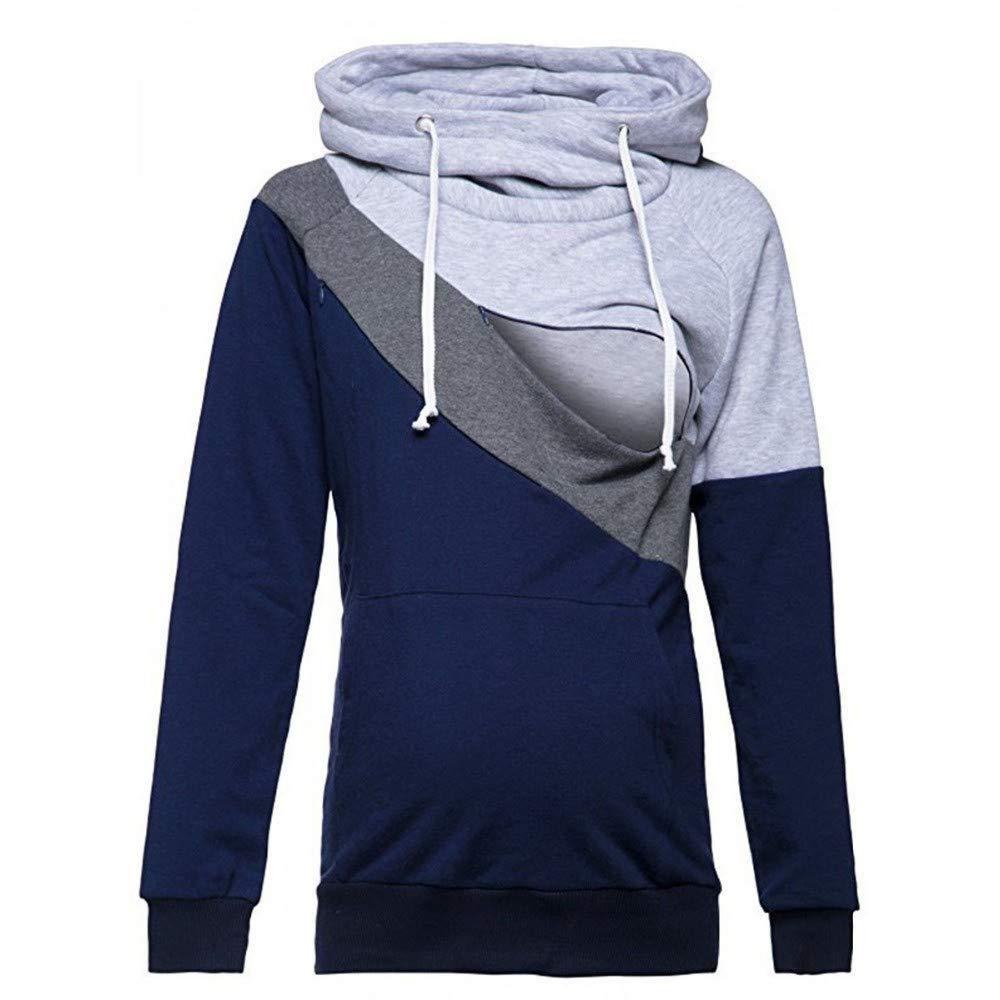 Inkach Women's Hoodies Pullover Tops - Maternity Long Sleeve Joint Hooded Sweatshirt Pregnant Nursing Blouse Shirts Outwear (XXL, Dark Gray) Inkach - Womens Sweatshirt