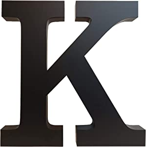 "K - Monogram Initial Alphabet Letter for Wall Art Décor, 12 inch Black Metal Decorative Hanging Accent Piece, Easy to Install, Home Interior/Exterior Display Sign Decorations, 1-3/16"" Thick (K)"