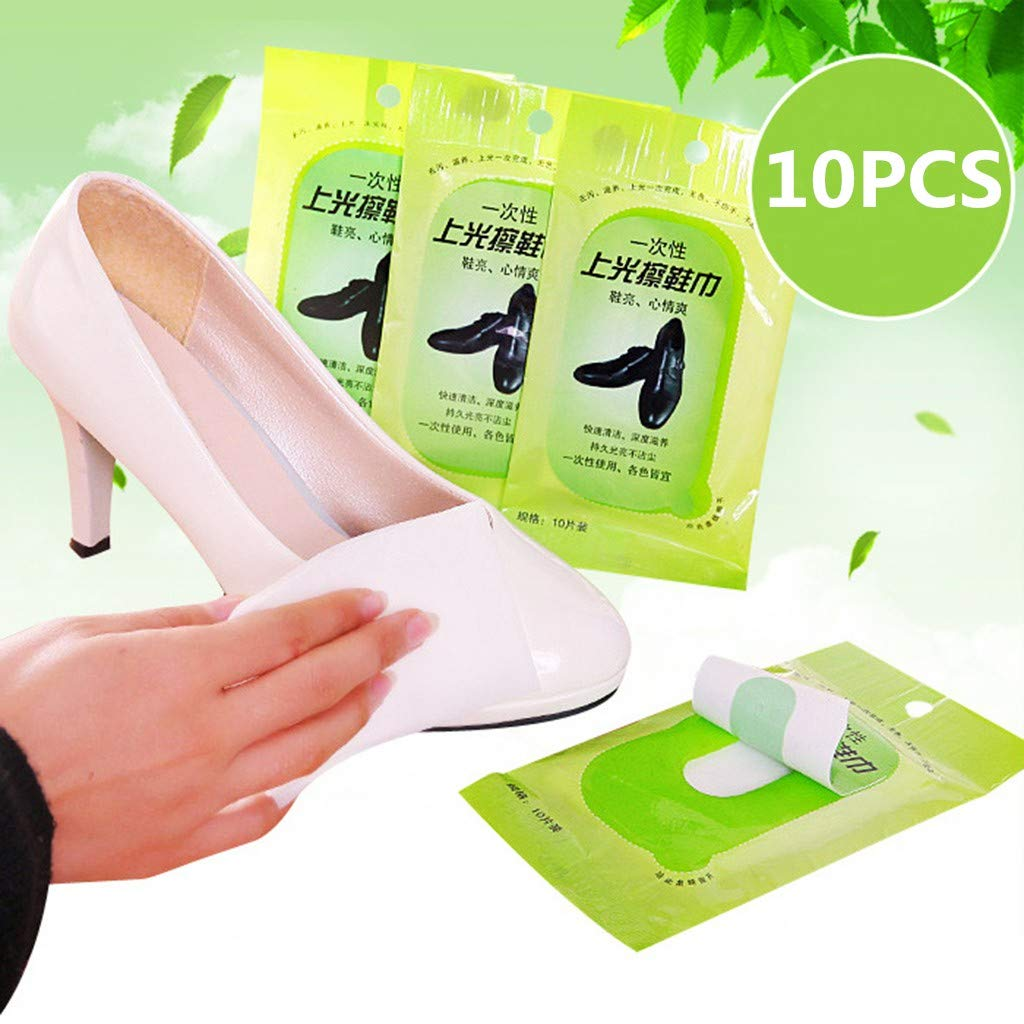 Aobiny Shoe Shine Wipes, Cleaning Polishing Shoe Cleaning Towel Leather Care Disposable Wet Wipes (10PCS)