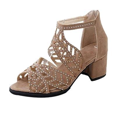 Damen Peep Toe High Heel Strass Sandalen Mitte Ferse Slipper Party Schuhe Arbeit Mule Schuhe
