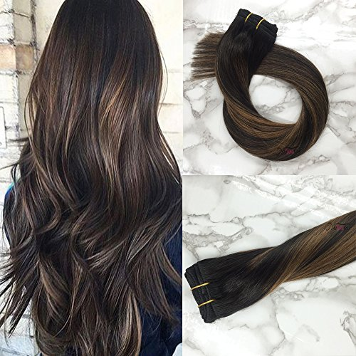 Misstar 18inch Balayage Remy Clip in Human Hair Extensions Ombre Black to Chesnut Brown 7pcs 120g Clip in Hair Extensions Human Hair 1B/6/1B - Not Time Fedex Delivered On