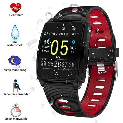 SmartWatch, Padgene Reloj Inteligente IP67 Impermeable Bluetooth Pulsera Actividad Deportiva Múltiples Lenguajes con Pulsómetro Monitor de Sueño, ...