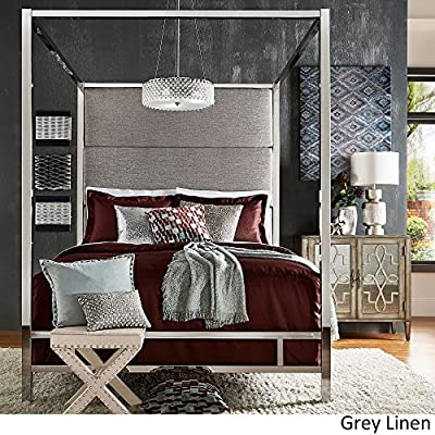 Inspire Q Evie Chrome Metal Canopy Bed with Linen Panel adboard by Bold Grey Queen - Complete bed includes: One (1) headboard, one (1) canopy, one (1) set of rails, three (3) metal slats Upholstery options: dark grey linen, grey linen, and off-white linen Available in full, queen, and king sizes - bedroom-furniture, bedroom, bed-frames - 61q8NXW51IL. SS400  -