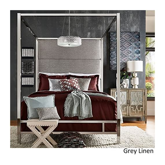 Inspire Q Evie Chrome Metal Canopy Bed with Linen Panel adboard by Bold Grey Queen - Complete bed includes: One (1) headboard, one (1) canopy, one (1) set of rails, three (3) metal slats Upholstery options: dark grey linen, grey linen, and off-white linen Available in full, queen, and king sizes - bedroom-furniture, bedroom, bed-frames - 61q8NXW51IL. SS570  -