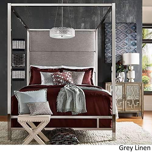 Inspire Q Evie Chrome Metal Canopy Bed With Linen Panel Adboard By Bold Grey King