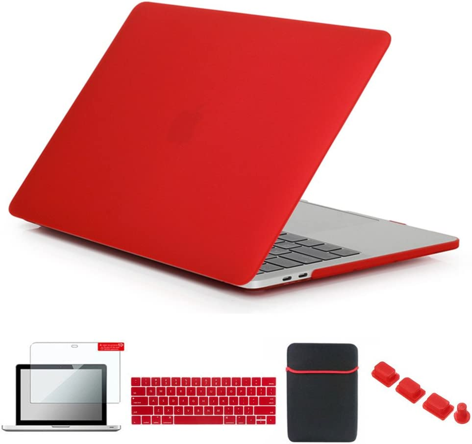 Se7enline Mac Book Pro Case with/Without Touch Bar Matte Plastic Hard Cover for MacBook Pro 13 inch A1706/A1708/A1989/A2159 2016-2019 with Sleeve Bag, Keyboard Cover, Screen Protector, Dust Plug, Red