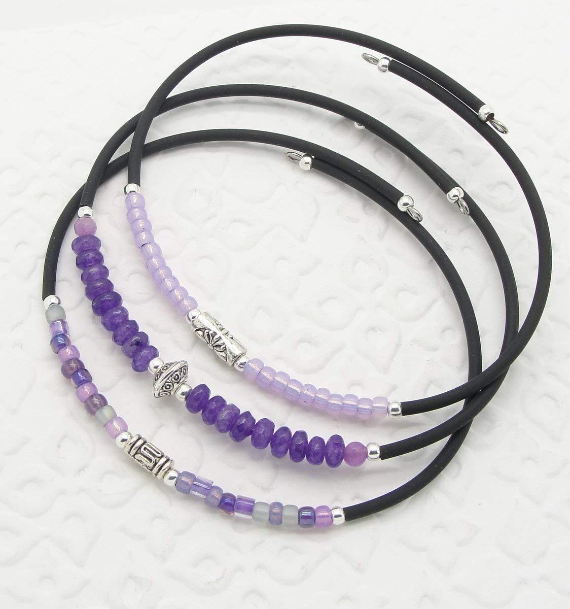 Deep Purple Faux Pearl Crystal  Memory Wire Bracelet #987