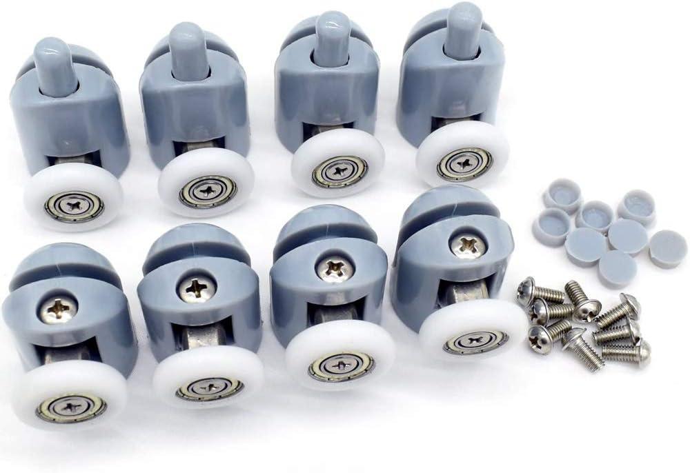 SSyang 8 Piezas Polea para mampara de ducha Ruedas Rodamientos para raíles para Puertas Correderas para puerta corredera de cristal baño(4 Rodillos Superiores + 4 Rodillos Inferiores)