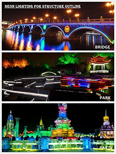 LED NEON LIGHT, IEKOV AC 110-120V Flexible RGB LED Neon Light Strip, 60 LEDs/M, Waterproof, Multi Color Changing 5050 SMD LED Rope Light + Remote Controller for Party Decoration (65.6ft/ 20m) by IEKOV (Image #8)