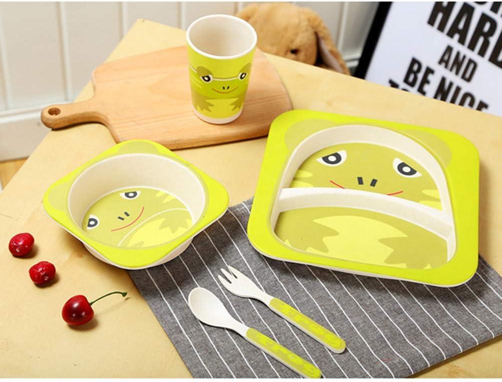 Skip Hop Baby Teller und Sch/üssel Set nat/ürliche Bambusfaser Kinder Geschirr Teller L/öffel Gabel Tasse f/ünf St/ück Setware//Sch/üssel Dish Set,A