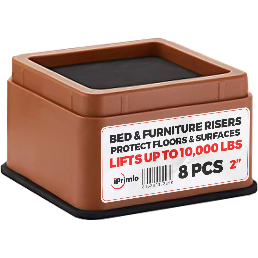 IPrimio Bed and Furniture Risers - 8 Pack Square Elevator up to 2'' Per Riser and Lifts up to 10,000 LBs - Protect Floors and Surfaces - Durable ABS Plastic and Anti Slip Foam Grip - Stackable - Brown