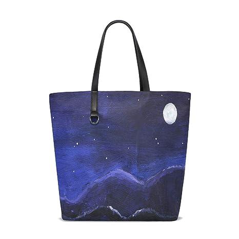 Amazon.com: Oil Painting Starry Night Tote Bag Purse Handbag ...