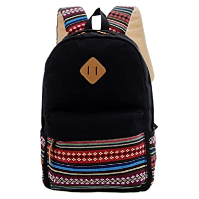 f438eca08223 Hide on bushFashion Boys Girls Rucksack Shoulder Canvas Bookbags School Bag  Satchel Travel Backpack (Black