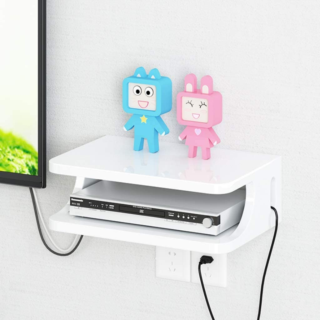 YYHSND Wall-mounted Bracket Bracket Box Set-top Box Modem Cable Box DVD Player For WiFi Router Player Streaming Device Wall Mount Shelf Color White