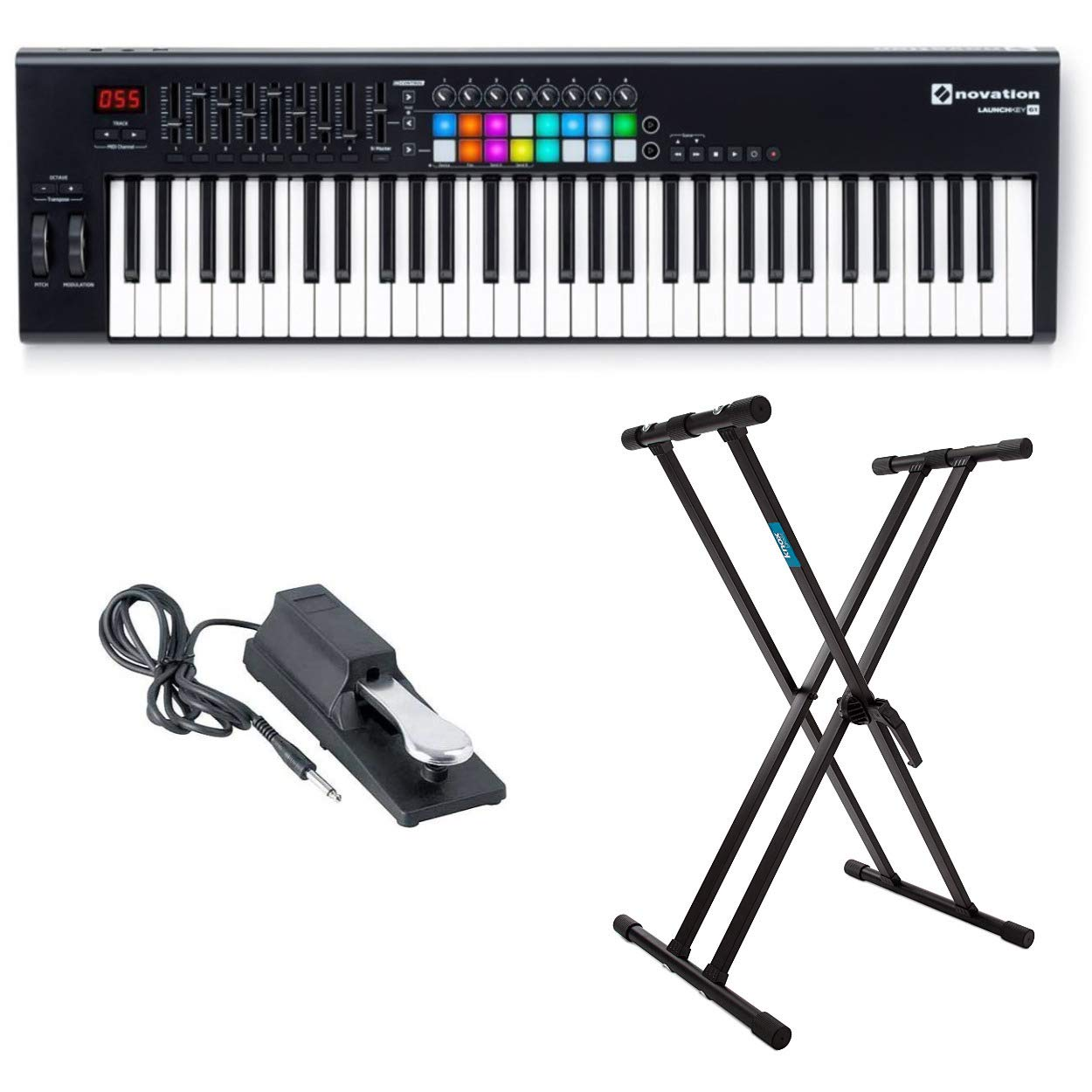 Novation Launchkey 61 MK2 Keyboard Controller with Knox Keyboard Stand and Sustain Pedal by Novation