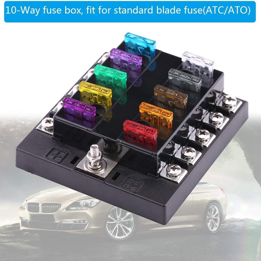 32V DC 10 Way Circuit Standard Blade Fuse Box Block Holder Use in Auto Car Truck Boat ATC ATO Fuse Block
