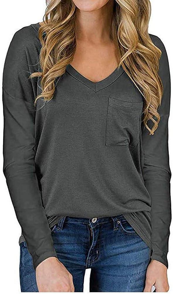 Camiseta De Bolsillo con Cuello En V Informal Y Suelta para Mujer, Estilo Nuevo, OtoñO, Manga Larga: Amazon.es: Ropa y accesorios