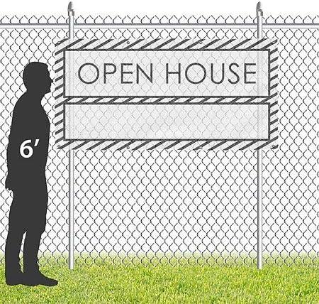 Stripes White Wind-Resistant Outdoor Mesh Vinyl Banner CGSignLab Open House 8x4