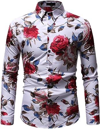 Fengbingl Camisas para Hombre Manga Casual Otoño e Invierno Casual de Gran tamaño Camisa de los Hombres Personalidad Estampado de Flores Camisa de Manga Larga de los Hombres: Amazon.es: Hogar