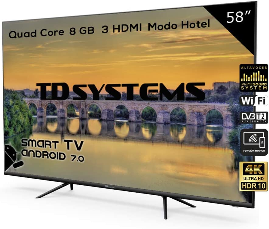 Televisor Led 58 Pulgadas Ultra HD 4K Smart, TD Systems K58DLX9US, resolución 3840 x 2160, HDR10, 3X HDMI, VGA, 2X USB, Smart TV.: Amazon.es: Electrónica