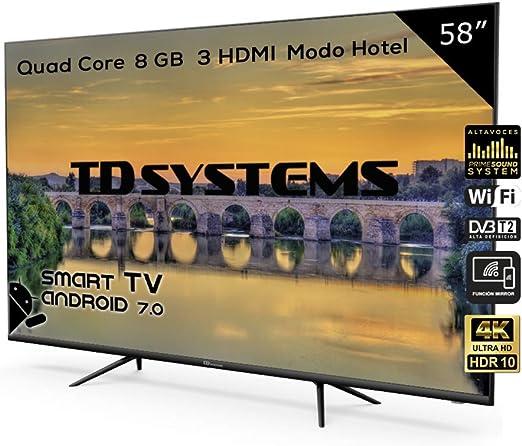Televisor Led 58 Pulgadas Ultra HD 4K Smart, TD Systems K58DLX9US, resolución 3840 x 2160, HDR10, 3X HDMI, VGA, 2X USB, Smart TV.: Amazon.es: Electrónica