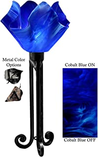 product image for Jezebel Radiance Torch Light. Hardware: Black. Glass: Cobalt Blue, Flame Style